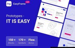 简易框架原型制作线框图设计套件[XD,FIG,Sketch]