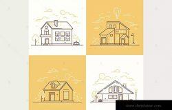 城镇建筑线条设计风格插画素材 Town buildings – line design style illustrations