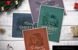 4款复古设计风格圣诞贺卡设计模板
