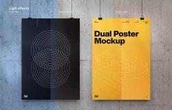 双海报悬挂效果图样机模板