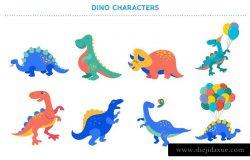 可爱的恐龙插图设计工具包 it's DINO time – cute dinosaurs kit