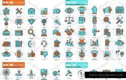 550枚扁平风格线条网站设计图标 Flat Line Web Icons