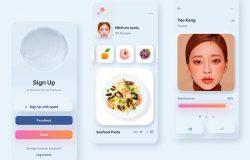 拟物化设计风格女性电子商务APP iOS UI套件