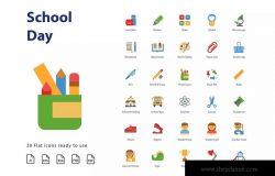 校园日教育主题扁平化设计风格图标素材 Shcool Day (Flat)