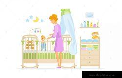婴儿看护场景卡通人物矢量插画 Mother with baby – cartoon characters illustration