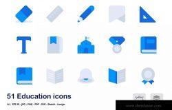 教育主题双色调扁平化矢量图标 Education Accent Duo Tone Flat Icons