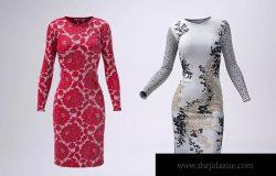 紧身连衣裙款式设计预览效果图样机模板 Body-Con Dress Mock-Up