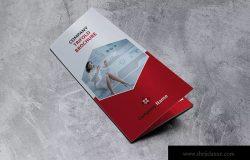 三折页红色商业宣传册模板 Trifold red Brochure