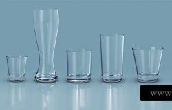 稀有少见的玻璃杯水杯标志logo样机VI展示模型mockups
