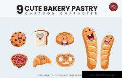 9款可爱设计风面包糕点矢量图形插画素材