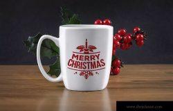 圣诞节主题马克杯设计效果图样机