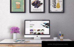 iMac一体机办公桌场景样机模板v1 iMac Desktop Mockup vol. 01
