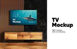 大尺寸壁挂电视屏幕预览样机模板 TV Mockup