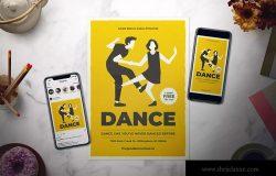舞蹈培训课程推广海报设计模板 Dance Class Flyer Set