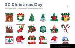 30枚扁平设计风格圣诞节主题矢量图标 30 Christmas Day Icons – Flat