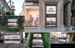 城市街道广告牌广告张贴效果样机模板v1 Old Town Advertising Mockups