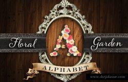 多色玫瑰花花园式字母表 Floral Garden Alphabet Initials