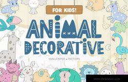 儿童墙纸动物装饰图案设计素材 Wallpaper Animal Decorative for Kids