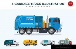 5款垃圾回收运输卡车矢量图形插画素材