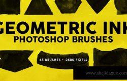 48个墨水几何图形PS印章笔刷 48 Geometric Ink Photoshop Stamp Brushes