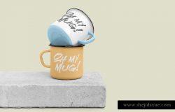3D立体高分辨率珐琅马克杯样机 Enamel Mug Mockups Pack