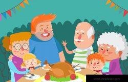 大家庭卡通手绘插画设计素材