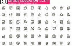 在线教育主题细线图标素材包