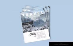 杂志排版设计预览样机模板 Free Magazine Mockup Template (Photoshop .PSD)