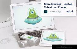 零售店展柜笔记本电脑/平板电脑/手机屏幕预览样机