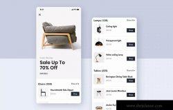现代家具网上商城APP应用UI模板素材 Modern Furniture Mobile App UI Kit