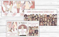 国际妇女节横幅Banner矢量图素材