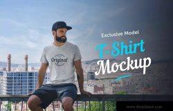 男模特街拍T恤印花设计预览样机 T-Shirt Mockup with Model