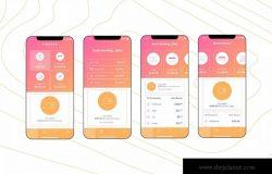 电子钱包APP应用用户中心UI界面模板[橘色配色方案]v6 Mobile Finance Home Ui – FD