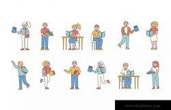 学生人物形象线条艺术矢量插画素材 Students Lineart People Character Collection