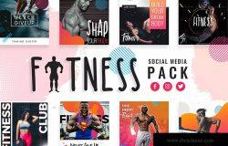 健身运动主题社交媒体设计素材 Fitness & Gym Social Media Templates