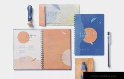 三种款式记事本外观设计预览样机模板 3 Notebook Mockups With Movable Elements