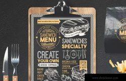黑板画粉笔画设计风格三明治菜单PSD设计模板 Sandwich Food Menu