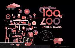 100+动物园动物矢量图标素材包