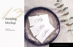 优雅风格婚礼照片&婚礼邀请函设计样机模板v13 Wedding Photo Mockup