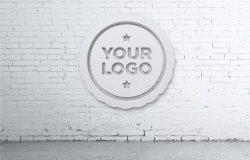 办公室Logo背景墙设计图样机