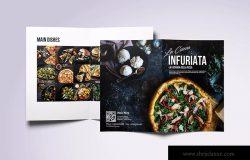 现代极简设计风格折页披萨菜单设计模板 Minimal Modern Bifold A4 & US Letter Food Menu
