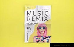 DJ混音音乐主题活动海报传单设计模板