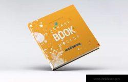 方形精装图书封面效果图样机