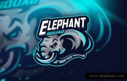 球队团队形象Logo模板 Elephant Squad – Mascot & Esport logo