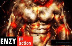 抽象狂热火焰粒子效果照片处理PS动作 Frenzy Photoshop Action