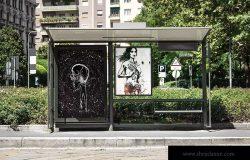 公交车站灯箱广告海报效果图样机模板 Bus Stop Flyer Mock-up