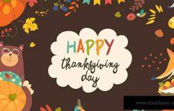 卡通动物图案感恩节主题装饰框素材 Frame of Thanksgiving day with cute animals