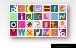 创意装饰英文字母矢量设计素材 Font Design & Seamless Background