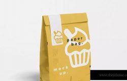 蛋糕面包外带包装纸袋设计图样机模板