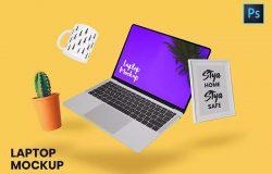 悬浮状态笔记本电脑屏幕UI设计效果图展示样机